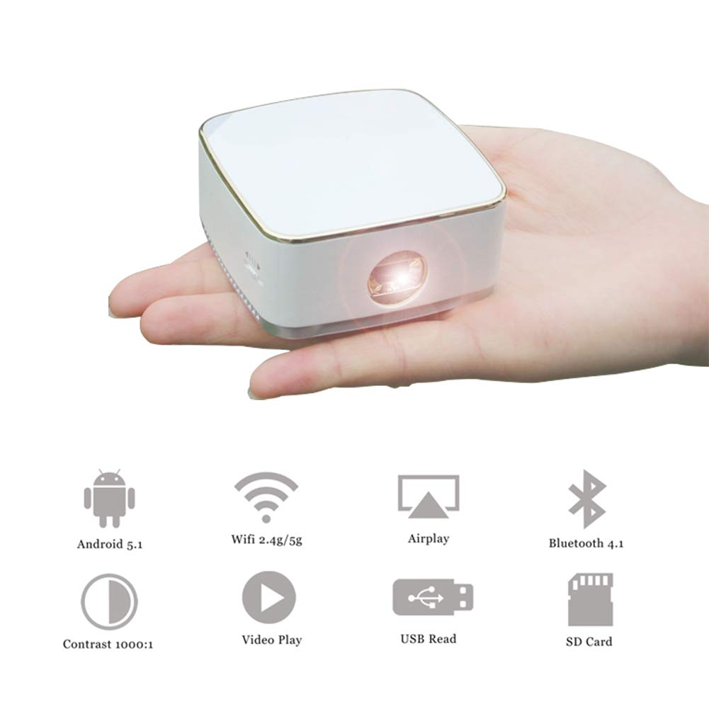 OMZBM Mini Portátil WiFi Bluetooth Proyector, Video De 1080P DLP ...
