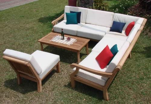 WholesaleTeak New Luxurious 5 Piece Teak Sectional Sofa Set