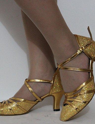 La mode moderne Sandales femmes personnalisables Chaussures de danse latin/similicuir Talon Chaussures Standard Personnalisé Chocolat,or,US8/EU39/UK6/CN39