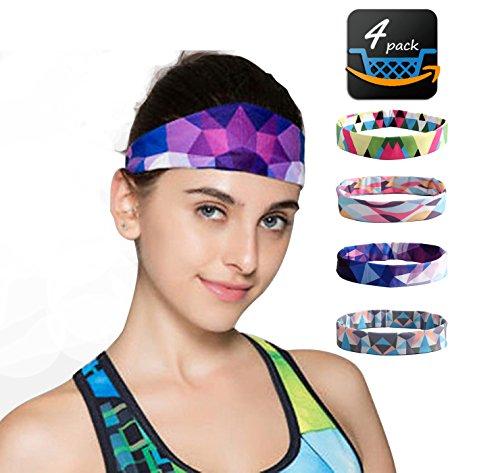 Sports Yoga Headbands For Women-4 Pack Wide Printing Elasticity Non-slip Workout Headband Girls