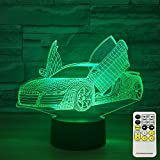 kid car light - INSONJOHY 3D Night Lights for Kids and Adults Sport Car 7 Colors Change with Remote Help Kids Fell Safe at Night or As A Gift Idea for Boys or Men by (Sport Car)