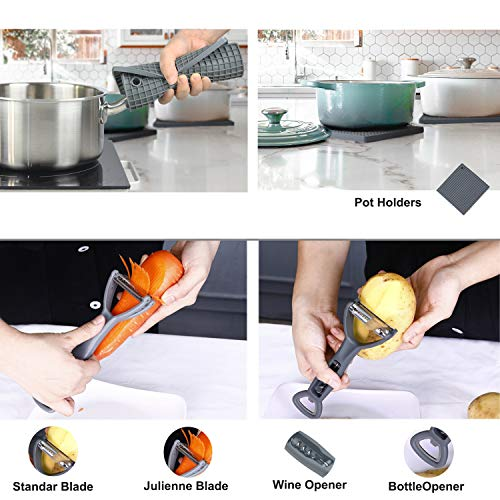 Jawanfu Kitchen Cooking utensils set, Silicone & Stainless Steel, Kitchen Utensils Set with Holder, 446°F Heat Resistant Nontoxic, Cooking utensils for Non-stick Pan, Cooking Gifts set