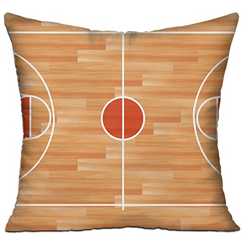 CY STORE Basketball Court Square Cotton Linen Sofa Cushion Covers Decorative Home Zippered Custom Throw Pillow 18 X 18 Inch(contain Pillow Core)