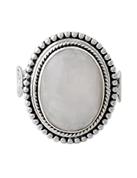 NOVICA Rainbow Moonstone .925 Sterling Silver Cocktail Ring, Rainbow Glow'