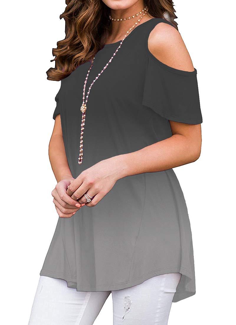 Womens Casual Loose Tunic Tops - O Neck Cold Shoulder Ruffle Dye Tunic Tops for Leggings Grey XL