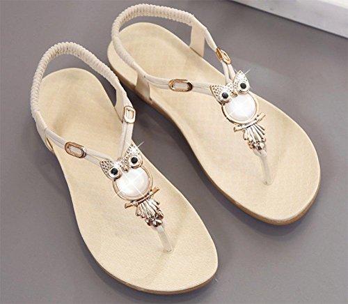 piedras con zapatillas deslizadores White de mujeres planas Chanclas las planas 5F6qII