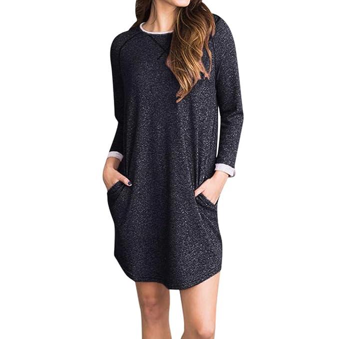 a7613ddd9eb1b Rovinci Women Oversized Dress Long Sleeve Tunic Asymmetrical Dress Shirt  Dress Baggy Pockets Short Jumper Dresses  Amazon.co.uk  Clothing