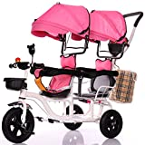 TUJHGF Pram Pushchair Children's Double Tricycle Bicycle Twin Baby Stroller Lightweight 1 To 6 Years Old With Awning,Pink