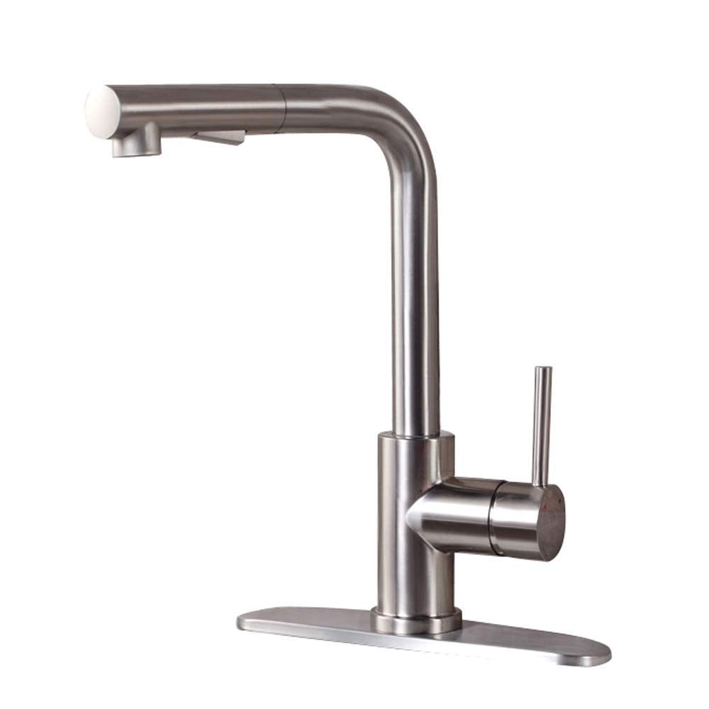 GhomeG Modern Style Stainless Steel Single Handle Pull Out with Sprayer Wet Bar Brushed Nickel Kitchen Faucet, Pull Down Kitchen Sink Faucet With Deck Plate