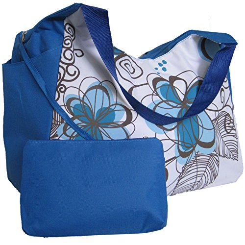 LARGE BEACH BAG Blue With Flowers (H)33x(W)51x(D)23cm. With useful deep side pockets and internal purse.
