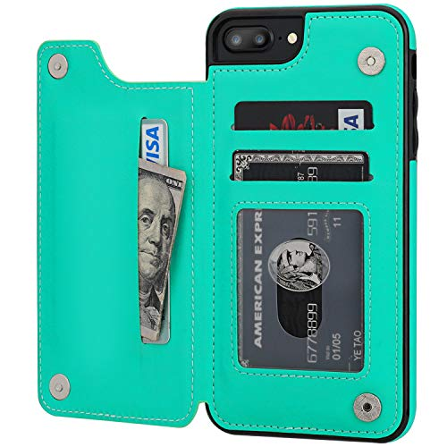 iPhone 7 Plus iPhone 8 Plus Wallet Case with Card Holder,OT ONETOP Premium PU Leather Kickstand Card Slots Case,Double Magnetic Clasp and Durable Shockproof Cover 5.5 Inch (iPhone 7/8 Plus 5.5