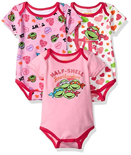 Onesies For Teenage Girls (Nickelodeon Baby Girls' Ninja Turtles 3 Pack Bodysuit, Pink,)
