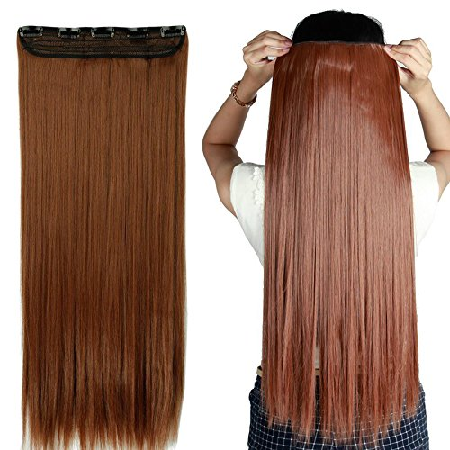 S-noilite 24/26 Straight Curly 3/4 Full Head One Piece 5clips Clip in Hair Extensions Long Poplar Style for Xmas Gifts 22colors (26 - Straight, light auburn)