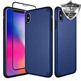 SWODERS Case for iPhone XS Max, [Hard PC Cover] High Impact Resistant Fully Protective Slim Case with Tempered Glass Screen Protector for iPhone XS Max 6.5'' - Blue