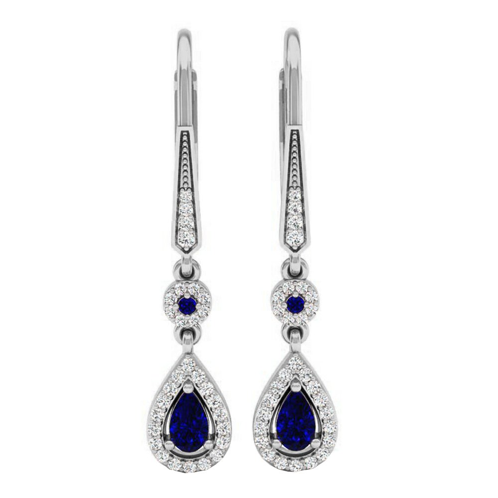 14K White Gold 5X3 MM Each Pear Shape Blue Sapphire & Round Diamond Ladies Halo Dangling Earrings