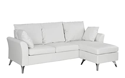 Casa Andrea Milano Modern PU Leather Sectional Sofa   Small Space  Configurable Couch (White)