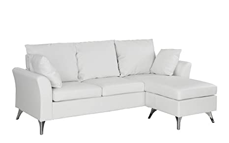 Small Space Configurable Couch Modern Bonded Leather Sectional Sofa White