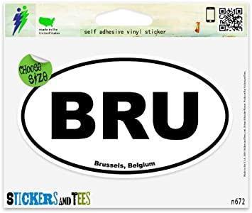"Belgium Flag oval car window bumper sticker decal 5/"" x 3/"""