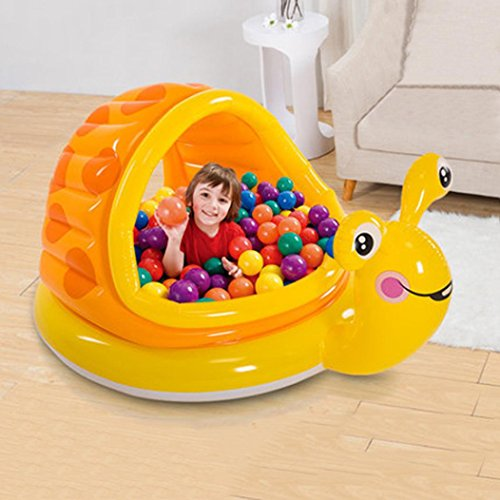 Toddler Paddling Pool with Canopy Sun Shade Swimming Inflatable Pool Anti UV Snail Shape (124x109x7cm) (Multicolor) by JPOQW (Image #2)