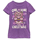 Girls' Christmas Owl Be Home Purple Berry T-Shirt