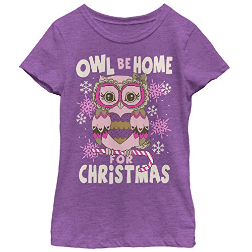 Girls' Christmas Owl Be Home Purple Berry T-Shirt by Lost Gods