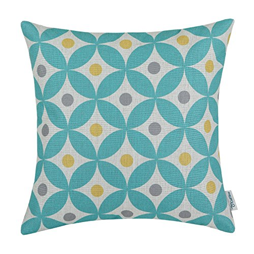 CaliTime Canvas Throw Pillow Covers Cases for Couch Sofa Home Decor, Modern Circles Rings with Colorful Dots Geometric, 18 X 18 Inches, Teal