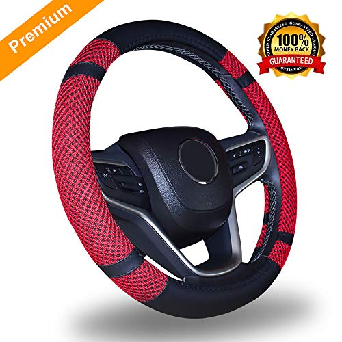 """Premium Steering Wheel Cover for Men Women- Wheel Protector Made of Microfiber Leather, Universal for All Car Jeep Truck Brands Standard Size 15"""" (Antiskid Red & Black)"""