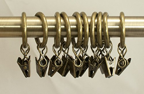 Urbanest Set of 40 1-inch Metal Curtain Rings with Clips and Eyelets, Fits Up to 3/4 Inch Rod, Antique Brass