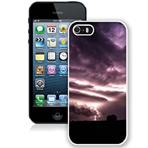 NEW Unique Custom Designed iPhone 5S Phone Case With Purple Clouds Lightning Over Field_White Phone Case