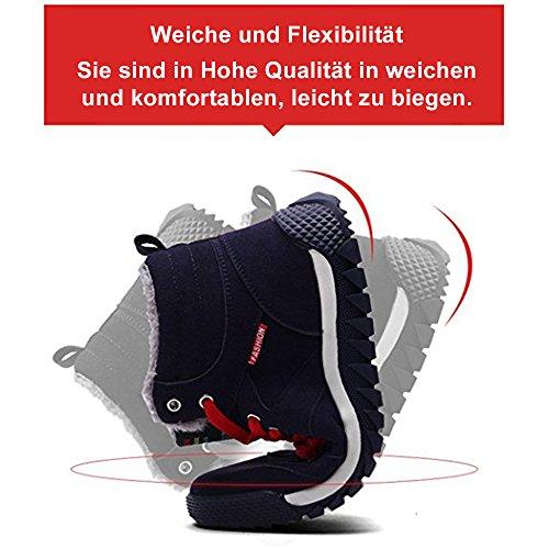 A Scarpe Neve Uomo Classico Sneaker Invernali Stivali Piatto SITAILE Scarponi blu da Pelliccia nax15aPX