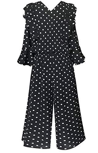 Smukke, Big Girls Floral Printed Smocking Detailed Jumpsuits (Many Options), 7-16 (Black Multi, 14) ()