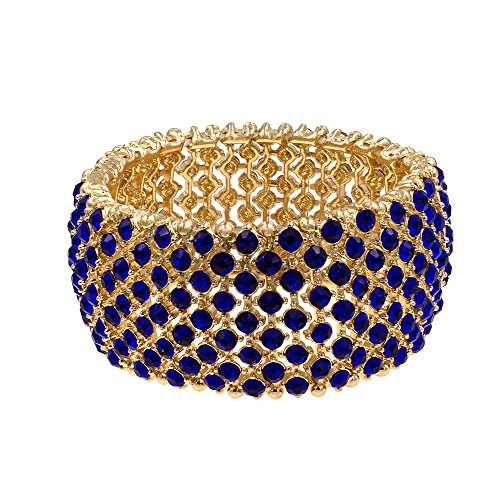 Blue And Gold Costumes - Lavencious Tennis Rhinestone Stretch Bracelets Bridal