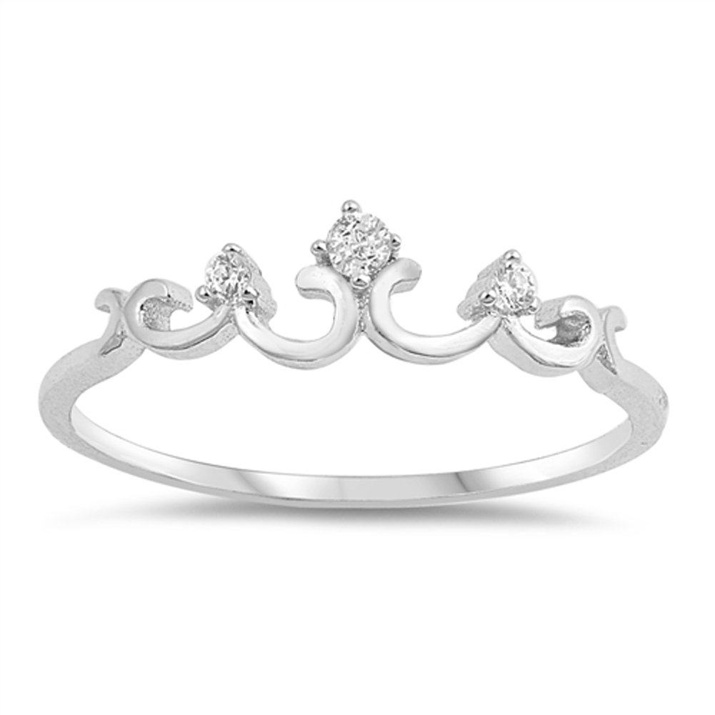 White CZ Swirl Elegant Thumb Crown Ring New .925 Sterling Silver Band Sizes 5-10