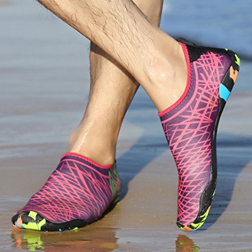 Byste Surf Shoes Multifunctional Snorkeling Swimming Diving Ankle Socks Outdoor Sports Unisex Lightweight Beach Buoyancy Soft Rubber Elastic Breathable Yoga Wear Anti Slip,Size 36-44 Hot Pink