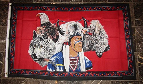 Ant Enterprises 3x5 Indian Native American Eagle Wolf Bison Buffalo Flag 3'x5' Brass Grommets