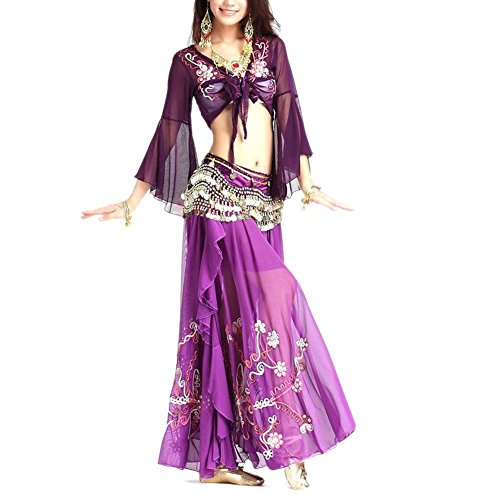 [BellyLady Professional Belly Dance Costume, Tribal Wrap Top And Skirt Set PURPLE] (Purple Belly Dance Costume)