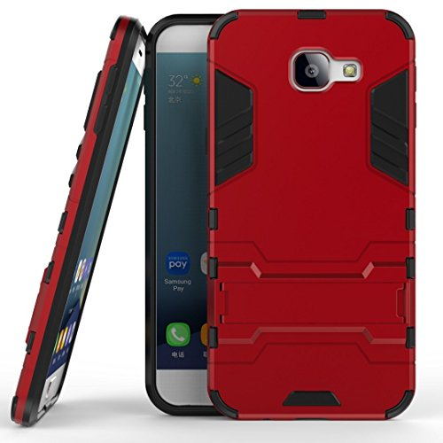 ZTE Axon 7 mini Hybrid Case, ZTE Axon 7 mini Shockproof Case, Dual Layer Protection Shock Absorption Hybrid Rugged Case Hard Shell Cover with Kickstand for 5.2'' ZTE Axon 7 mini (Red)