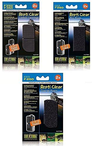 Coarse Foam Filters and Fine Foam Filters Includes Carbon Cartridges Exo Terra Repti-Clear 250 Filter Bundle
