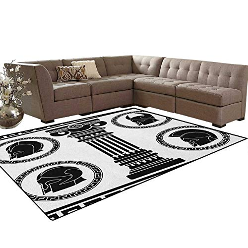 Toga Party,Floor Mat,Patterned Circular Frames with Antique Accessories Spartan Classic Costume,Soft Area Rugs,Black and White Size:6'x7' ()
