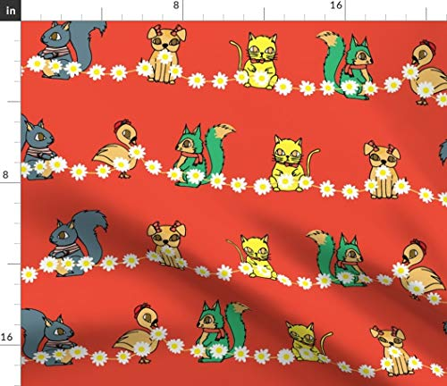 kitsch woodland Fabric - Duck Squirrel Dog Cat Red Green Yellow Daisy Squirrel Cat Forest Creatures Animals Childrens by Katebillingsley Printed on Petal Signature Cotton Fabric by the Yard ()