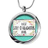 NEONBLOND Happy Floral Border Step-Daughter Aromatherapy Essential Oil Diffuser Necklace Locket Pendant Jewelry Set