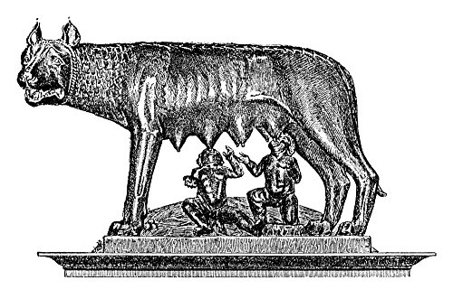 Capitoline Wolf Nbronze Sculpture Of A She-Wolf Suckling Twin Infants The Legendary Founder Of Rome Romulus And His Brother Remus Possibly Etruscan C480 Bc Or Possibly 13Th Century Wood Engraving Fren