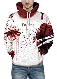 Prettyard Men Women Hip Hop Dark Bloody Red I'm fine Saying White Hoodie Sweatshirt - US(Men:L(Plus)-XL(Slim)= Women:18/XL) IgnoreOurTag