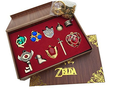 The Legend Of Zelda Twilight Princess   Hylian Shield   Master Sword Finest Collection Sets Keychain   Necklace   Jewelry Series  Red 10Set