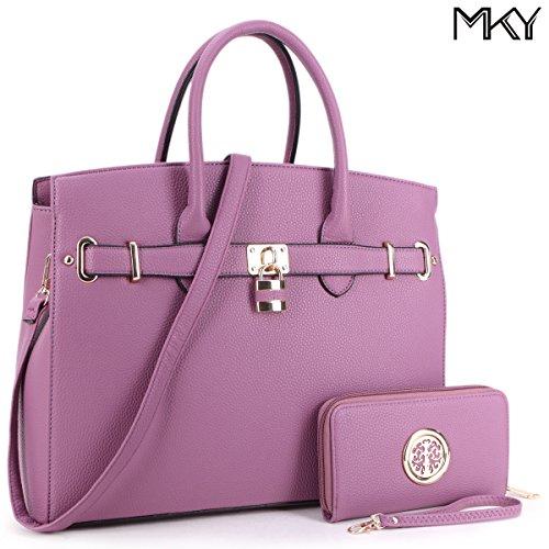 Women Large Handbag Designer Purse 2 Pieces Set Leather Satchel Removable Shoulder Strap Purple