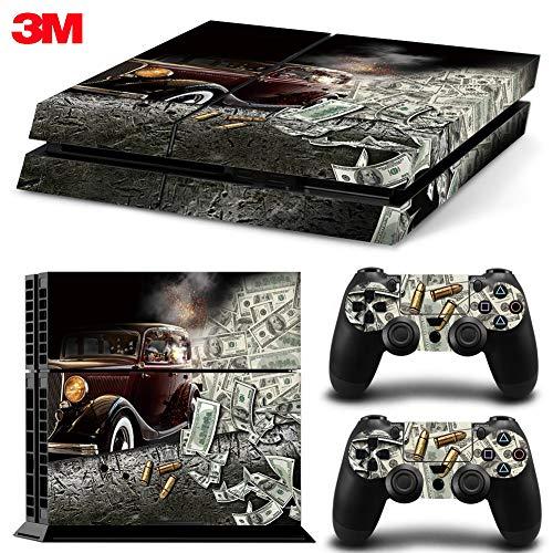 ZOOMHITSKINS PS4 Skin Decal Sticker Money Cash USA Gangster Custom Design + 2 Controller Skins ()