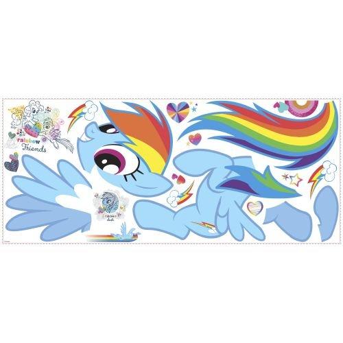 ellow Orange My Little Pony Wall Decals Set, Cartoon Themed Wall Stickers Peel Stick, Fun Rainbow Dash Horse Ponies Hearts Mulitcolor Wings Decorative Graphic Mural Art, Vinyl ()