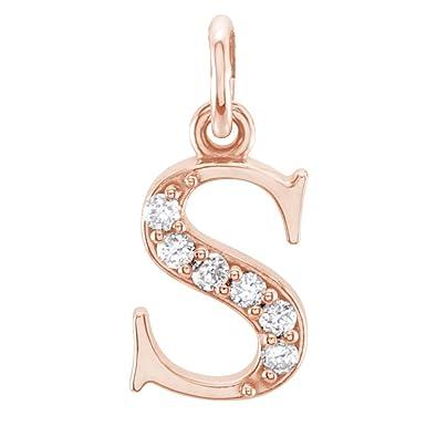 Amazon diamond initial s lowercase alphabet letter 14k rose diamond initial s lowercase alphabet letter 14k rose gold pendant 03 cttw aloadofball Choice Image