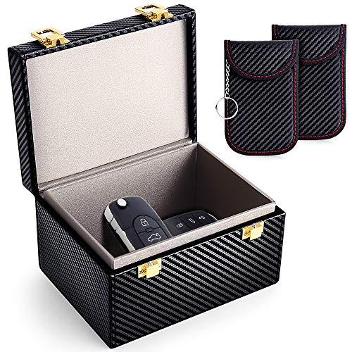 MOSFiATA Car Key Signal Blocking Box and Pouch (2 pack), Large Faraday Box for Car Keys Phones RFID Blocker Case Car Key…