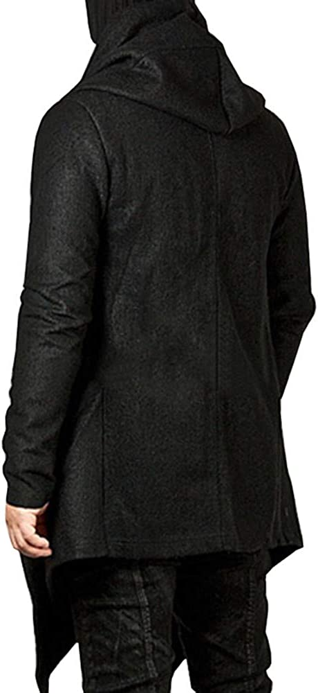Mens Cardigan Jackets,Males Hooded Pockets Trench Coat Casual Irregular Outwear Long Jacket
